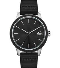 lacoste men's black silicone strap watch 44mm