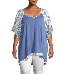 american rag women's plus mixed media top - blue white - size 2x (18-20)