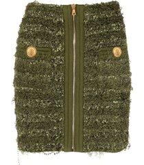 balmain short hw zipped tweed skirt