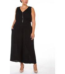 black tape plus size floral-print smocked-waist button-front jumpsuit