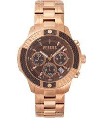 versus versace versus by versace admiralty chronograph bracelet watch, 44mm in rose gold/brown at nordstrom
