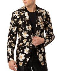 tallia men's slim-fit vigaro black & gold floral sport jacket
