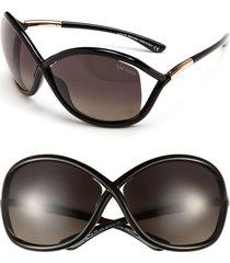 tom ford 'whitney' 64mm polarized sunglasses in shiny black at nordstrom