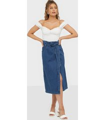 selected femme slfdemina hw inky blue denim skirt midikjolar