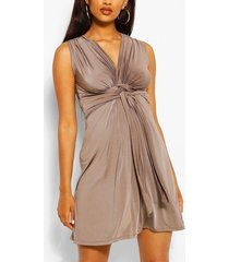 maternity knot front mini dress, mocha