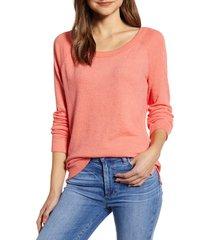 women's caslon rib trim stripe pullover, size small - coral