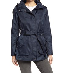 women's via spiga belted water repellent hooded raincoat, size x-large - blue