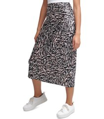 calvin klein jeans printed pull-on midi skirt