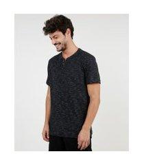 camiseta masculina básica mescla manga curta gola portuguesa preta