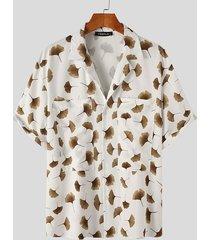 incerun camisa con estampado de hojas de ginkgo de vacaciones para hombre