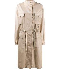 closed trench shirt midi dress - brown