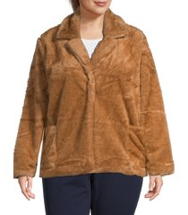 bobeau women's twiggy faux fur jacket - camel - size 2x (18-20)