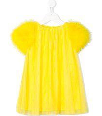 charabia fluffy sleeves tulle dress - yellow