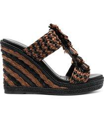 paul warmer tassel raffia strap sandals - brown