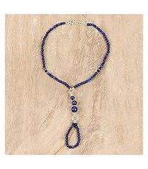 lapis lazuli and onyx beaded harem anklet, 'exotic style' (india)