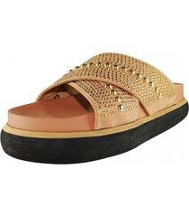 sandalia plataforma brillos dorado takones