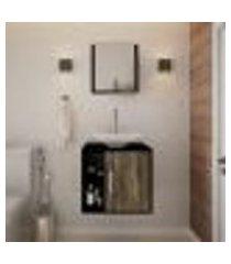 conjunto para banheiro gabinete com cuba folha l38 e espelheira soft 500 preto ônix com carvalho dark