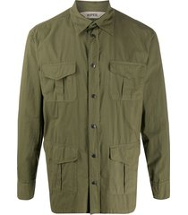 aspesi multi-pocket long sleeve shirt - green