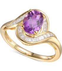 amethyst (1-1/8 ct. t.w.) & diamond (1/4 ct. t.w.) swirl ring in 14k gold