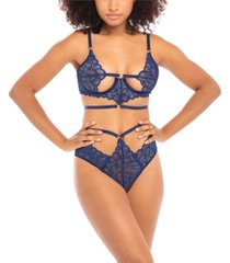 women's unlined open cup bra with ring details and matching high waisted panty set
