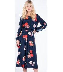 granatowa sukienka w kwiaty halli