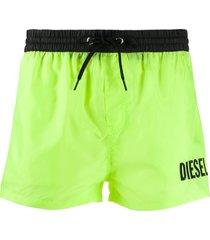 diesel embroidered logo swim shorts - green