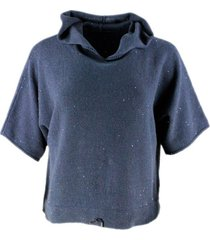 fabiana filippi hooded sweatshirt style sweater with drawstring at the bottom in cotton and linen with micro sequins