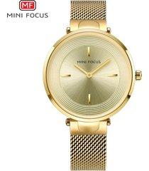 mini focus / 0195l / reloj para mujer / cinturón de malla de-dorado
