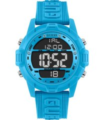guess men's logo silicone digital watch 48mm