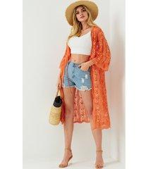 bordados naranja yoins detalles campana kimono