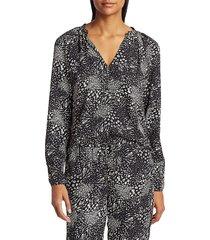 joie women's shauna print keyhole shirt - caviar - size xxs