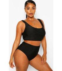 plus contrasterende bikini met hoge taille, zwart