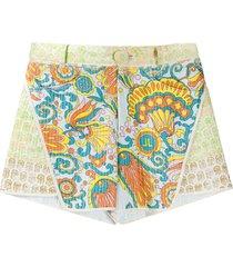 lanvin flower swirl panelled shorts - blue