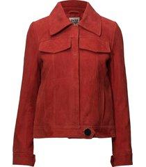 veronica suede jacket leren jack leren jas rood twist & tango