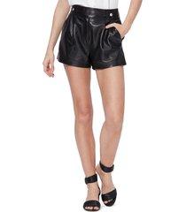 women's paige colima leather shorts, size 6 - black