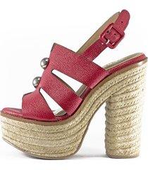 sandalia tacón alto cuero rojo yute versilia akiles