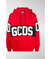gcds band logo print pullover hoodie