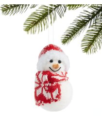 holiday lane chalet you stay, flocked snowman ornament with scarf & hat, created for macy's