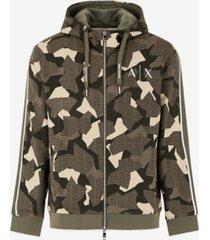 ax armani exchange men's zip-up geometric camo sweatshirt