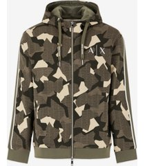 ax armani exchange men's zip-up geometric camo sweatshirt