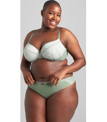 lane bryant women's no-show thong panty with lace 18/20 hedge green