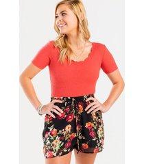 vannah floral drawstring shorts - pink