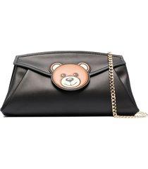 moschino angular teddy clutch bag - black