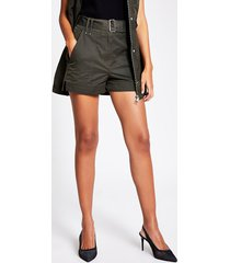 river island womens khaki high rise belted shorts