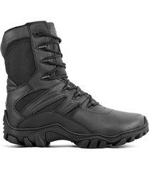 botas militares wolker / hunter black / cierre lateral caña alta