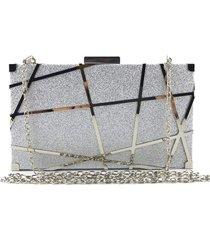 bolsa clutch liage brilho fosca alã§a removãvel prata - prata - feminino - dafiti
