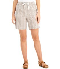 karen scott petite striped cotton drawstring shorts, created for macy's