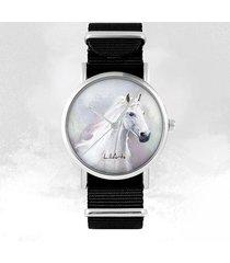 zegarek - biały koń - czarny, nylonowy, unisex