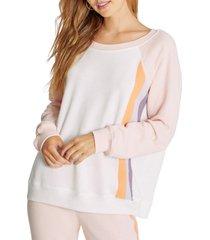 women's wildfox grapefruit stripes crewneck sweatshirt, size x-small - pink