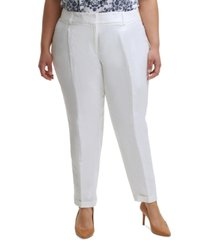 calvin klein trendy plus size cuffed front-crease pants